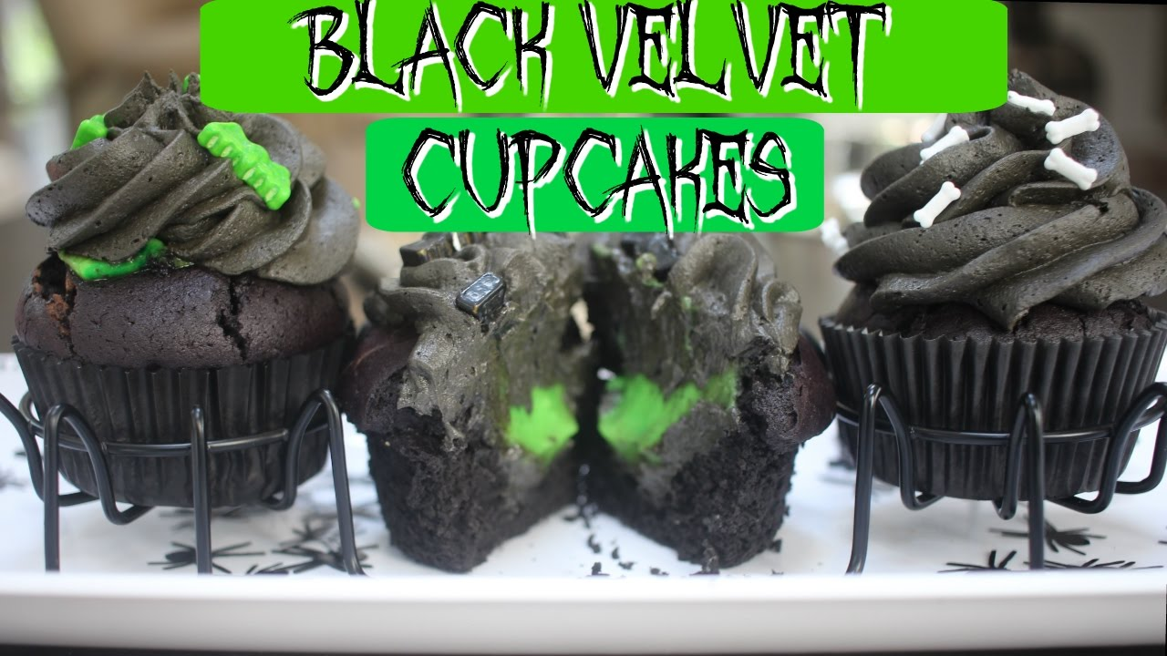 BLACK VELVET CUPCAKE || Green Slime in the Middle Halloween Cupcakes!