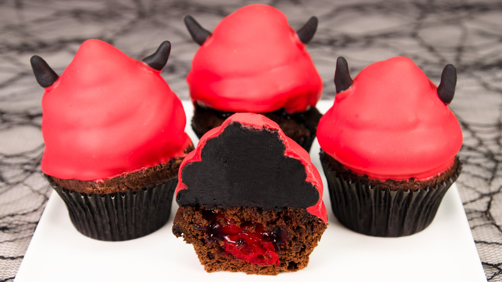 Devil's Food Cake Halloween Cupcakes