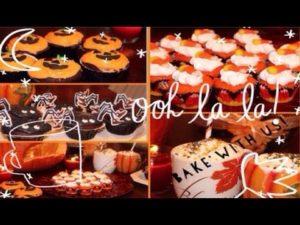 Halloween Cupcakes, treats + pumpkin spice milkshake!