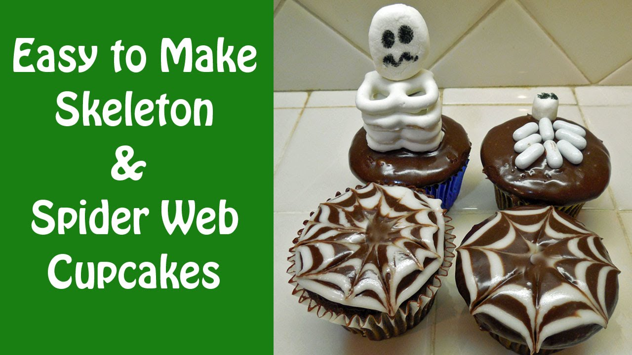 Halloween Skeleton and Spider Web Cupcakes